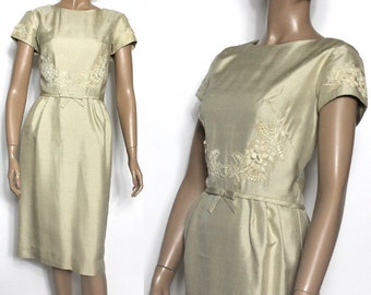 Vintage 1950s Dress//Tan Brocade//Wiggle Dress// Fully Lined//Tan 1950s Dress//Classy//