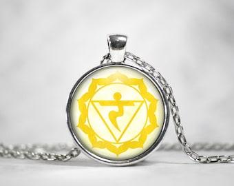 Solar Plexus Chakra Necklace | Chakra Necklace Chakra Pendant Boho Necklace Yoga Necklace Manipura Chakra Meditation Necklace Yellow Chakra