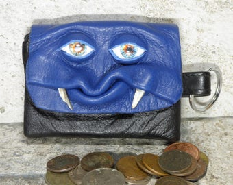 Zippered Coin Purse Blue Black Leather Change Purse Monster Face Pouch Key Ring  33