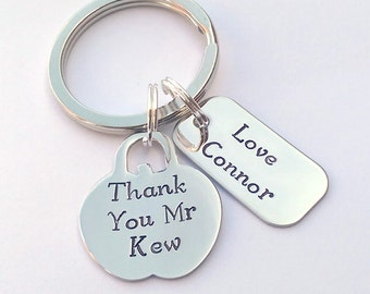 Personalised Teacher gift - personalised teacher apple keyring - personalised end of year teacher gift - thank you teacher gift - TA gift