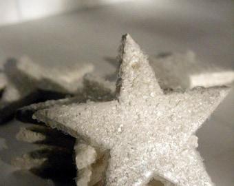 Star Wedding Decor - Star Ornament, pearl ornament, glittery ornament, sparkly ornament, star gift tie on, winter wedding decor, set of 6