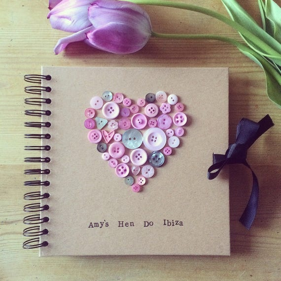 Bespoke Button Heart Book (can be personalised) perfect photo album/guest book/scrapbook for a hen do, baby shower, wedding or engagement