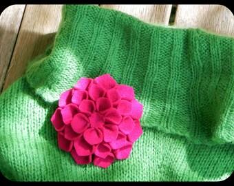 burgundy dahlia brooch in felt