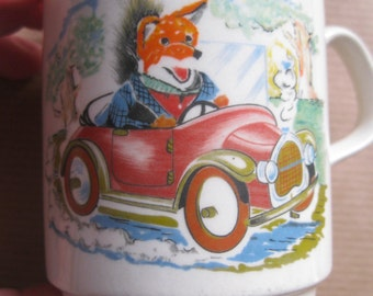 child's vintage china mug featuring Basil Brush collectable