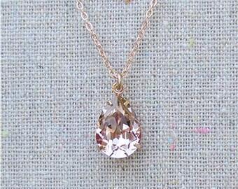 Swarovski Blush Pink Teardrop Crystal Rose Gold Necklace, Simple Bridal Jewelry, Wedding Necklace, Bridesmaids Gifts, Tear Pendant