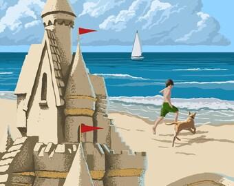 Pismo Beach, California - Sandcastle - Lantern Press Artwork (Art Print - Multiple Sizes Available)