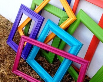 Set of Bright//Bold//Colorful //Open//Empty Gallery Frame Set