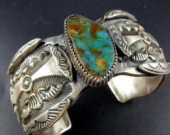 Vintage MARC ANTIA Hand-Stamped Sterling Silver & TURQUOISE Cuff Bracelet 109g