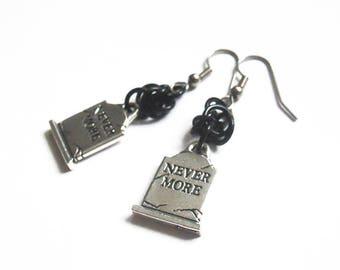 Silver gravestone earrings, Tombstone jewelry, Gothic grave earrings, Nevermore earrings, Raven earrings