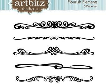 Flourish Elements, No. 17003 Clip Art Kit, 300 dpi .jpg and .png