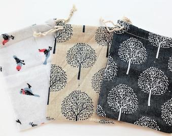 5 Handmade Canvas Bags 13 x 17 cm 3 models-handmade fabric bags-5 Linen rustic handmade Bags 3 models of stamp-5 fabric bags-