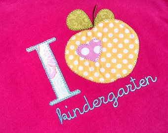 Kindergarten Apple Heart Shirt