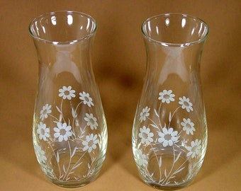Pasabahce Pair of Vases, Etched Daisies, Vintage Glass Flower Vases,  Made in Turkey