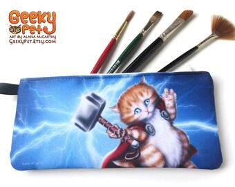 """Thor Kitten zippered pencil case 9"""" x 4"""""""