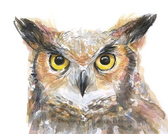 Owl Watercolor Art Print, Great Horned Owl, Bird Painting, Animal Illustration, Forest Creatures, Portrait