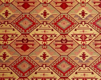 Ethnic Tribal Style Upholstery Fabric, Double-faced Cloth, Aztec Navajo Geometric Kilim Fabric, Yellow Red, by the Yard/Meter, Ycp-027