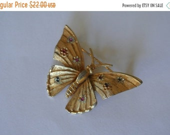 ON SALE Butterfly Brooch by BSK Gold Tone with Rhinestones Wings Signed