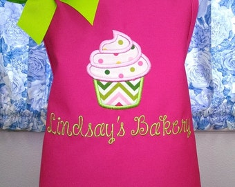Kids Apron Personalized Cupcake Child Apron Fabric Applique Monogrammed Gift