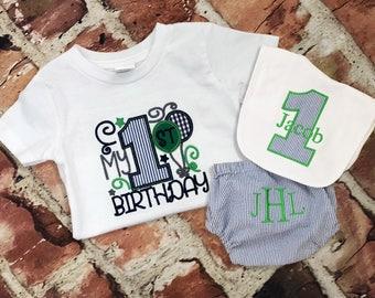 Boy Seersucker Birthday tee diaper cover  bib  first birthday outfit  first birthday hat  tie  Monogram - Initials - handmade - photo shoot