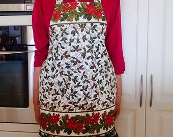 Christmas Apron, womens Christmas ruffled apron with large pocket, lined cotton kitchen baking hostess apron, Festive Season theme, mum gift