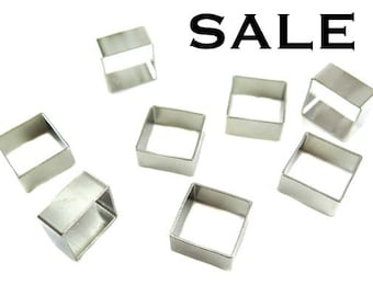 Rhodium Plated Square Bead Tube Charms (8x) (K105-B) SALE - 25% off