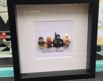 Game of Thrones GoT Winter Is Coming frame gift personalised shadow box frame Stark Snow Lannister Targaryen