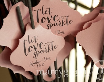 Sparkler Tags - Let Love Sparkle - Wedding Favor Tags Script Custom with Names and Date - Sparklers (24 / 36ct) SS02