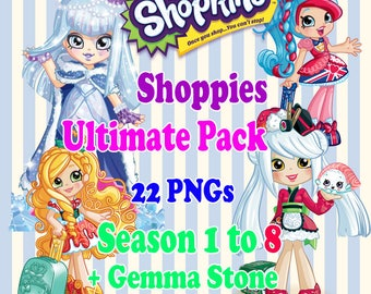 Digital Collage Shopkins Shoppies Ultimate Set of 22 Printable Image clipart Serie 1 to 8 + Gemma Stone exclusive - Download