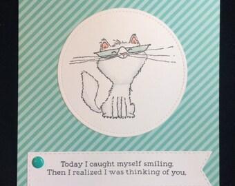 You Make Me Smile Cat Greeting Card