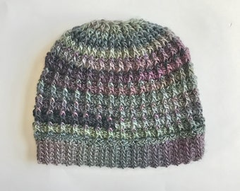 Messy Bun Hat - Gray & Purple