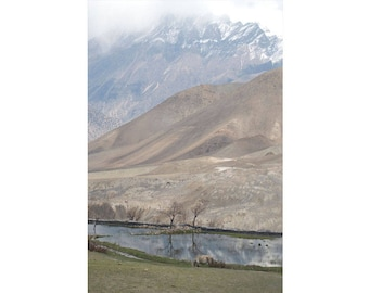 Nepalese Mountainscape and Lake