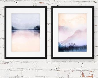 misty landscape prints, SET OF TWO prints, modern art prints, dreamy landscape prints, landscape photography, modern abstract landscape