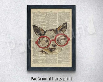 Chihuahua Print, Dog Print, Pet Print, Dictionary Art, Illustration Poster, Home Decor, Wall Decor, Gifts, Burlap Print with Frame - DG03