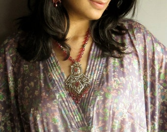 Mauve Silk Kaftan Robe - Perfect as a long dress, loungewear, beachwear, spas, for to be moms and more