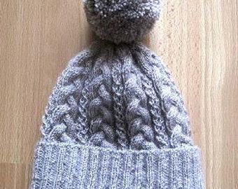 Cabled Hat knitting pattern - Instant Download PDF