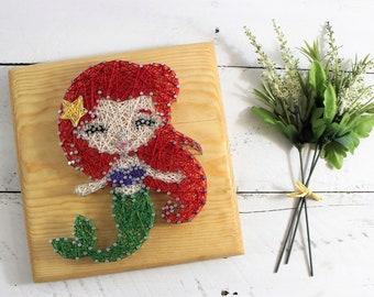 Mermaid Nursery Sign-Little Mermaid Decor-String Art-Ariel Under the Sea Bedroom Wall Art-SHIPS FREE