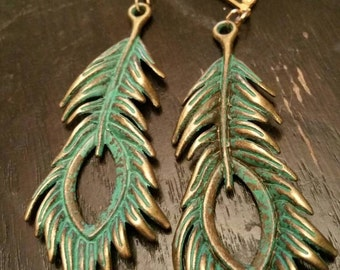 Long Eagle Feather Drop Earrings Verdigris Antique Bronze jewelry Holiday Gift for her under  10 bird feather jewelry Dangle earring angel