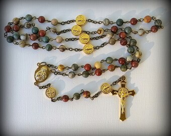 Fall color natural picassa jasper gemstone rosary, Saint Benedict, Lady of Guadalupe, Sacred Heart of Jesus