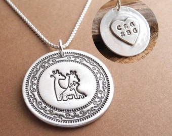 Personalized Giraffe Family Necklace, Mom Dad Baby, Heart Monogram, Two Moms, Two Dads, Fine Silver, Sterling Silver Chain, Made To Order