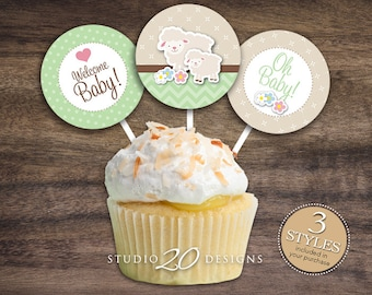 """Instant Download 2"""" Mint Green Lamb Cupcake Toppers, Printable Lamb Baby Shower Cupcake Toppers, Mint Gender Neutral Baby Shower Toppers 39C"""