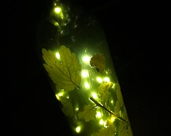 Decorative Lighted Wine Bottle Leaf Theme - Hand Crafted - Great gift!