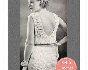 1930's Summer Dress, Bolero & Beret Crochet Pattern - Instant Download - PDF Crochet Pattern