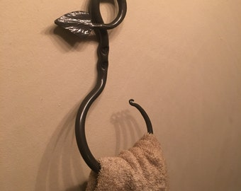 Hand forged towel ring