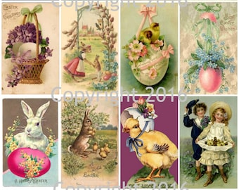 Printed Vintage Victorian Easter Cards Collage Sheet # 103, 8.5 x 11 Printed Sheet