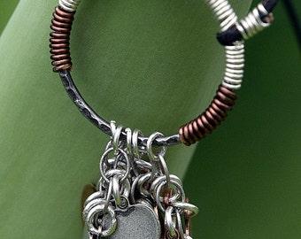 Multi Metal Circle Heart Necklace, Antique Silver Wire, Antique Copper Wire, Antique Brass Wire, Charm Necklace