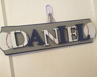 Custom Boys Name Sign - Boys Baseball Name Sign - Boys Custom Baseball Name Sign