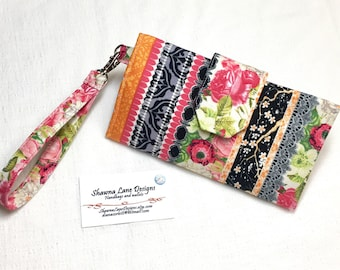 Ladies Wallet, shabby pink rose floral print, organizer wallet, checkbook, cell phone accessory, wristlet, small purse, wallet with strap