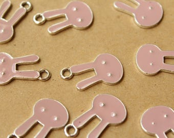 10 pc. Pink and Silver Enameled Rabbit Charms, 13.5mm x 23mm | MIS-119