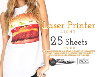 "Laser Iron-On Heat Transfer Paper, For Light fabric, 8.5"" x 11"", 25 Sheets FREE shipping"