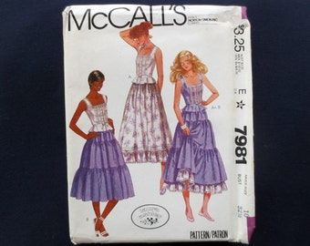 1982 Laura Ashley Top & Skirt Uncut Vintage Pattern, McCalls 7981, Size 10, Bust 32 1/2